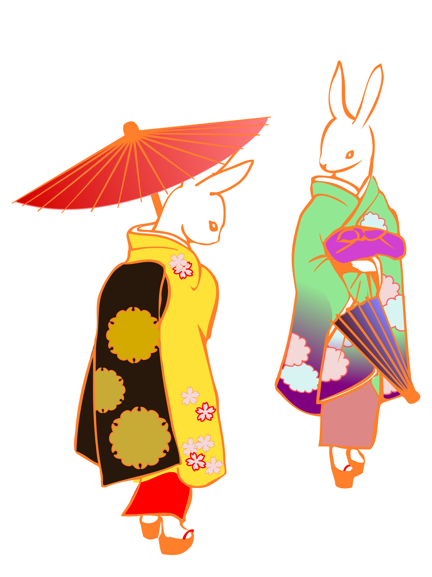 ウサギが着物を着ている絵